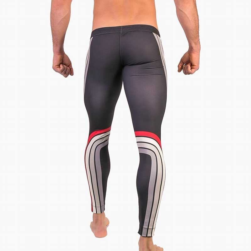 BARCODE Berlin LEGGINGS athletics 91481 training in anthracite with red band