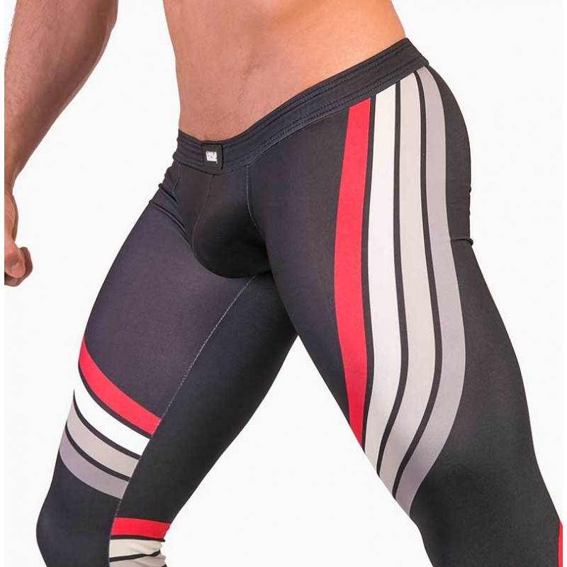 BARCODE Berlin LEGGINGS athletik 91481 training in anthrazit mit rotem Band