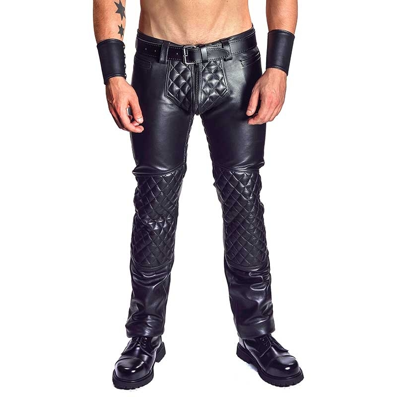 MISTER B LEATHER PANTS 11150 with quilted pattern