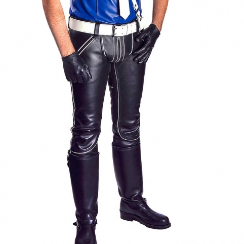 MISTER B LEATHER PANTS 11120 with color contrast piping