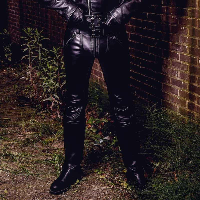 MISTER B LEATHER PANTS 11130 with classic jeans cut