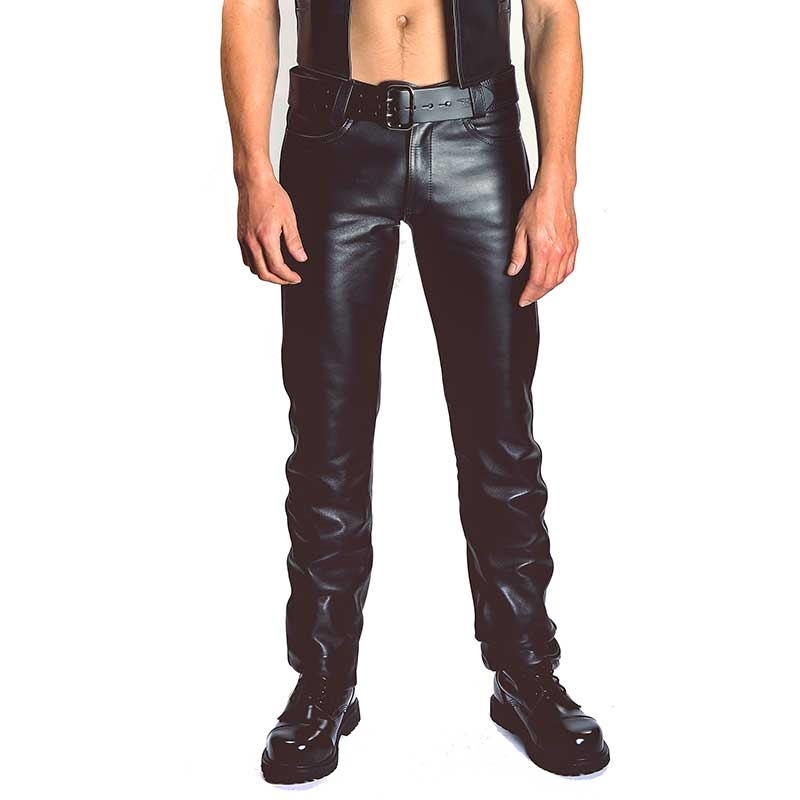 MISTER B LEATHER PANTS 10310 with classic button closure