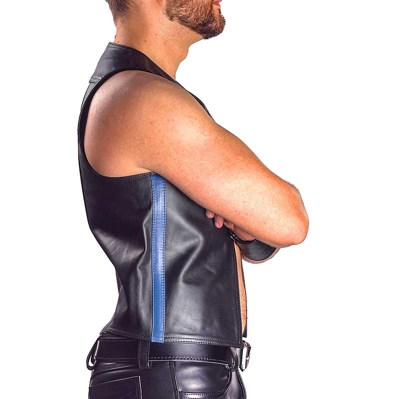 MISTER B LEATHER VEST 13071 with classic muscle cut