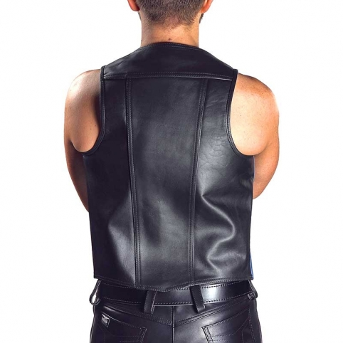 MISTER B LEATHER VEST 13073 with hanky code stripes