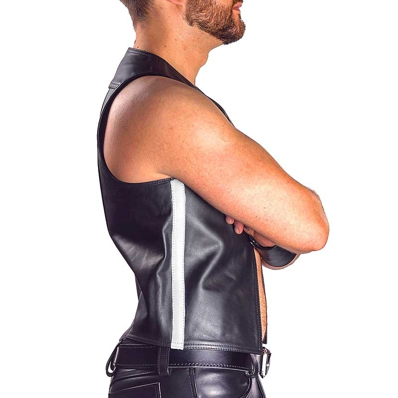 MISTER B LEATHER VEST 13074 with color stripes