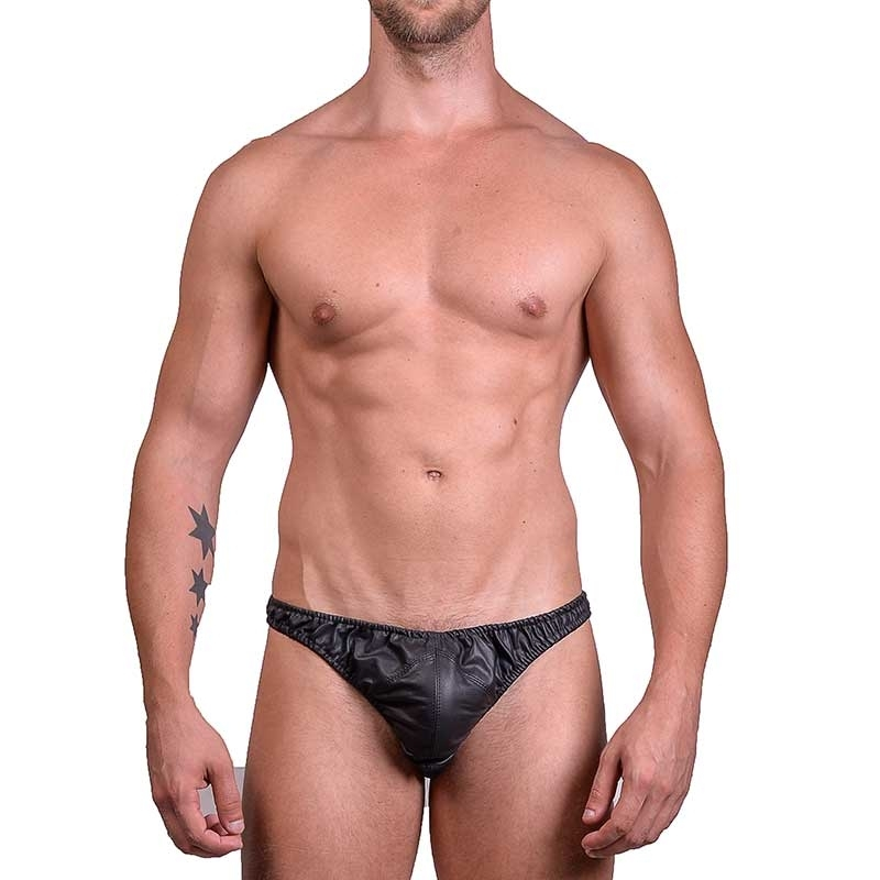 MISTER B LEATHER STRING 20070 with designer wrinkled look