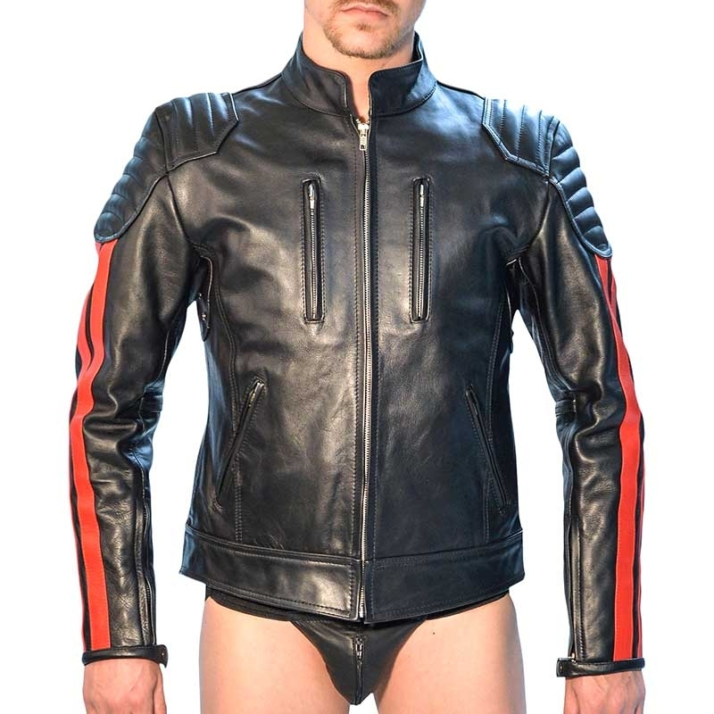 MISTER B LEATHER JACKET 14043 with designer color stripes