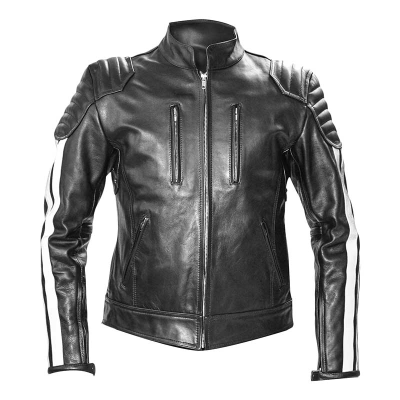 MISTER B LEATHER JACKET 14044 with designer color stripes