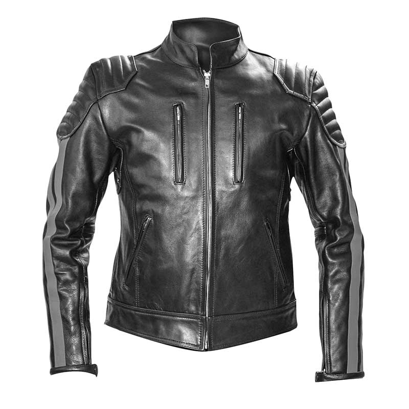 MISTER B LEATHER JACKET 14047 with designer color stripes