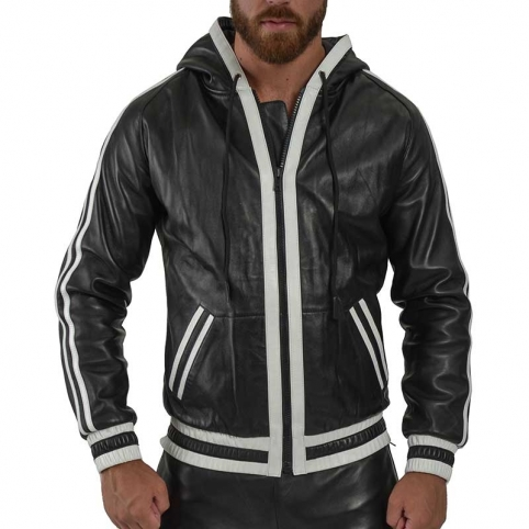 MISTER B LEATHER HOODIE 15024 with athletic cut hood