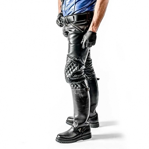 MISTER B LEATHER PANTS 11160 with quilted pattern