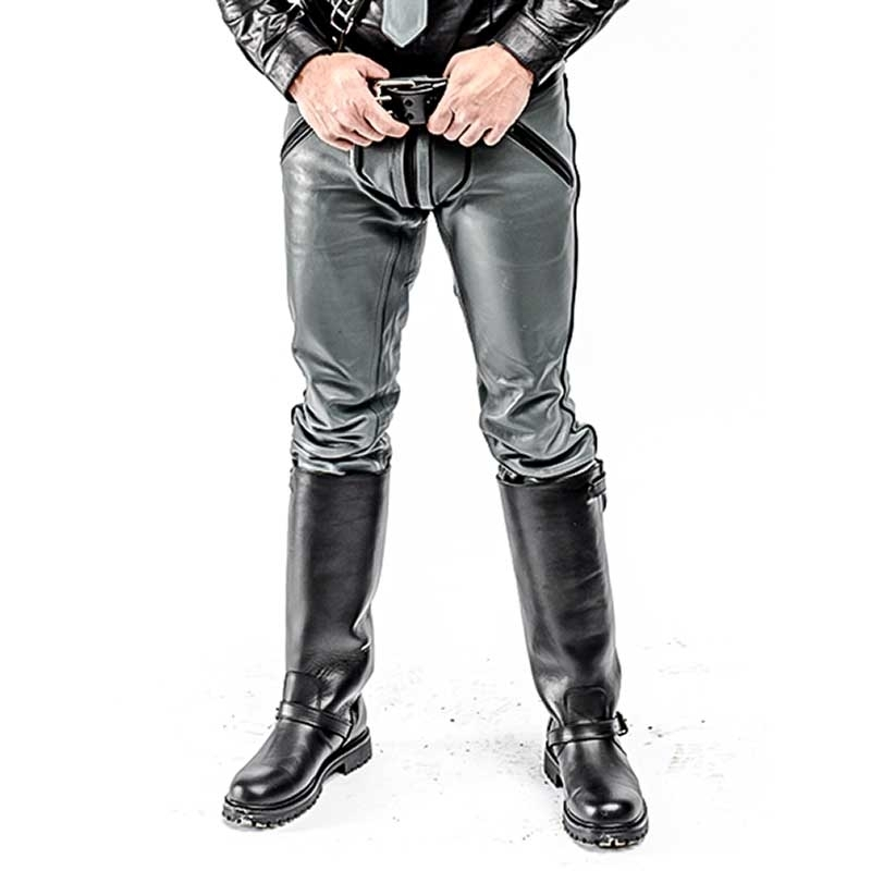 MISTER B LEATHER PANTS 11170 with military uniform design