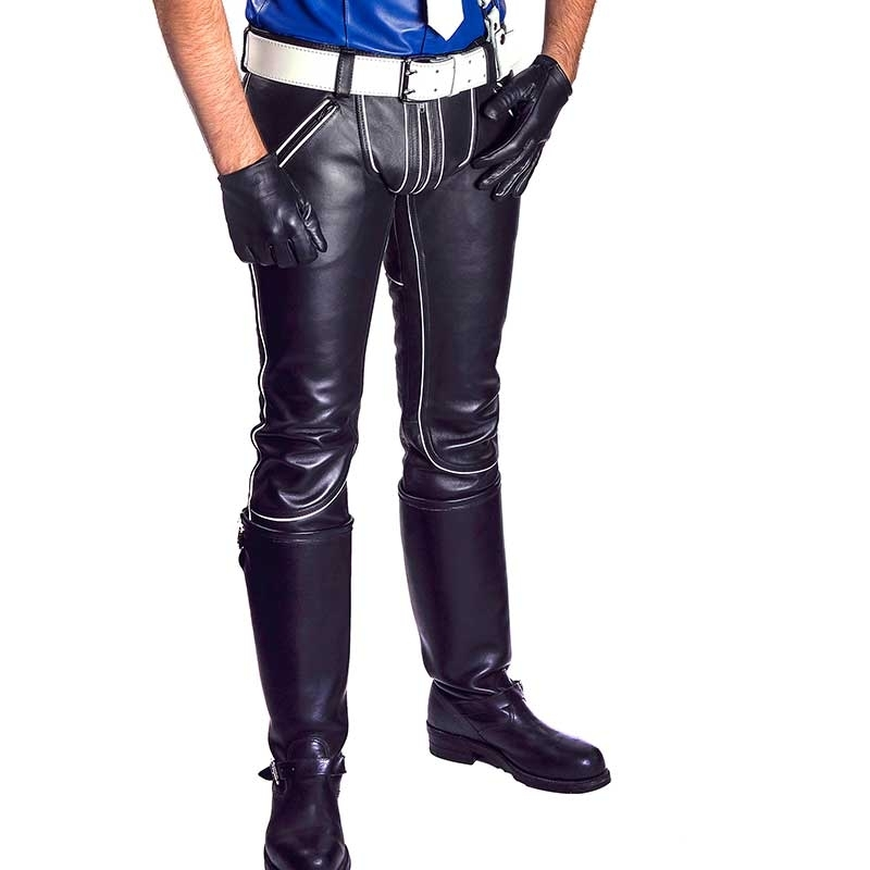 MISTER B LEATHER PANTS 11180 with color contrast piping