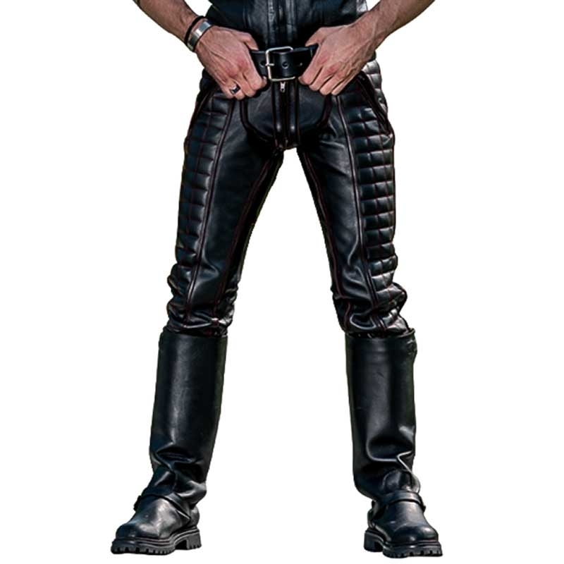 MISTER B LEATHER PANTS 11310 with quilted leather