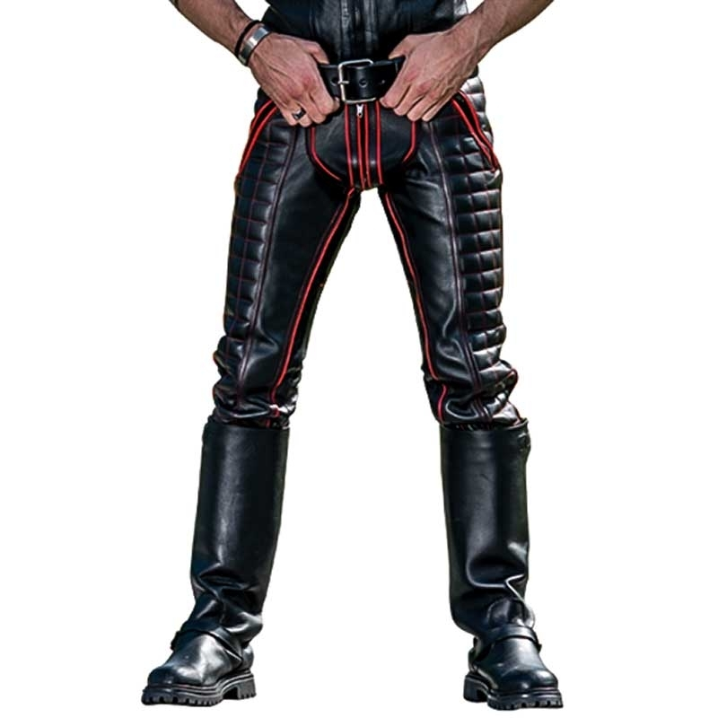 MISTER B LEATHER PANTS 11320 with quilted leather