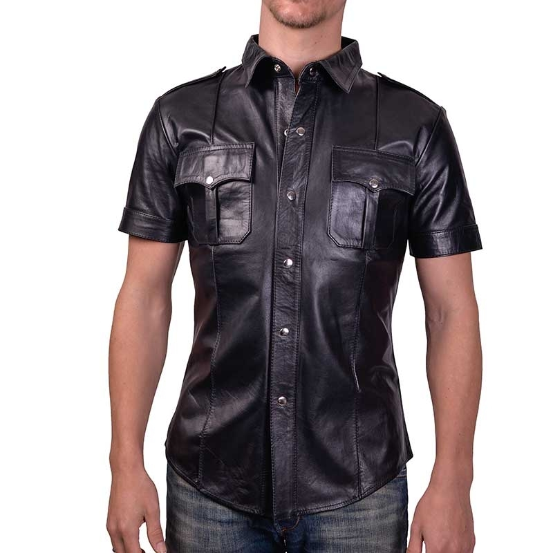 MISTER B LEATHER SHIRT 16160 classic police cut