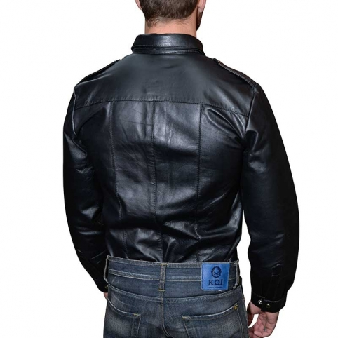 MISTER B LEATHER SHIRT 16170 classic police cut