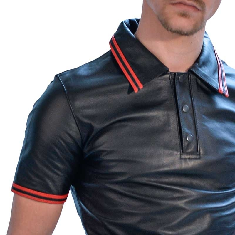 MISTER B LEATHER SHIRT 16123 with polo cut