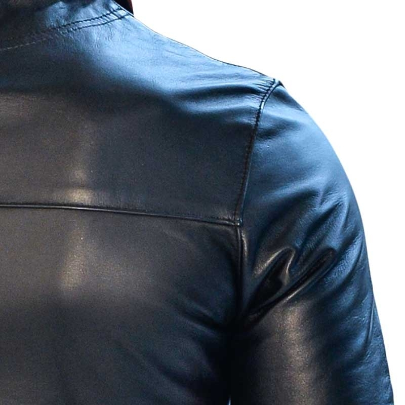 MISTER B LEATHER SHIRT 16124 with polo cut
