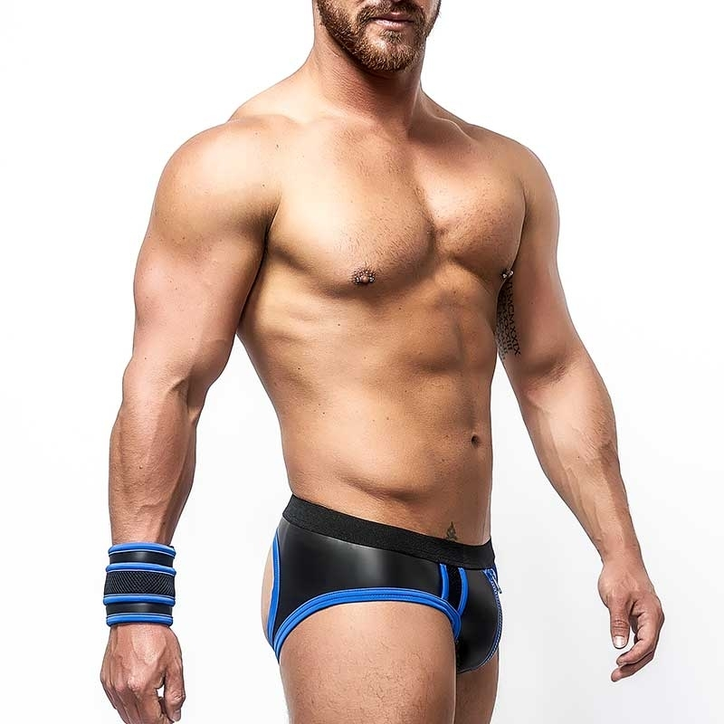 MISTER B NEOPRENE backless BRIEF 340110 with color contrast piping