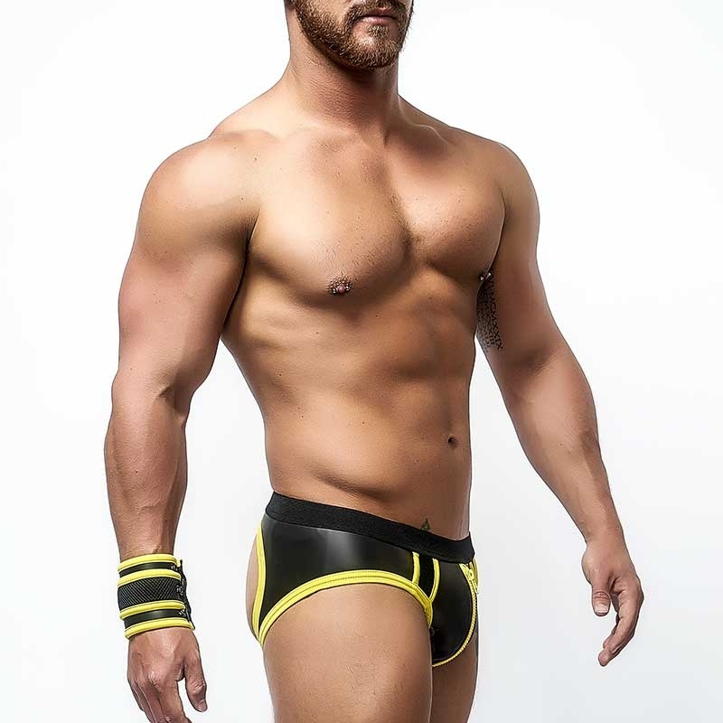 MISTER B NEOPRENE backless BRIEF 340120 with color contrast piping