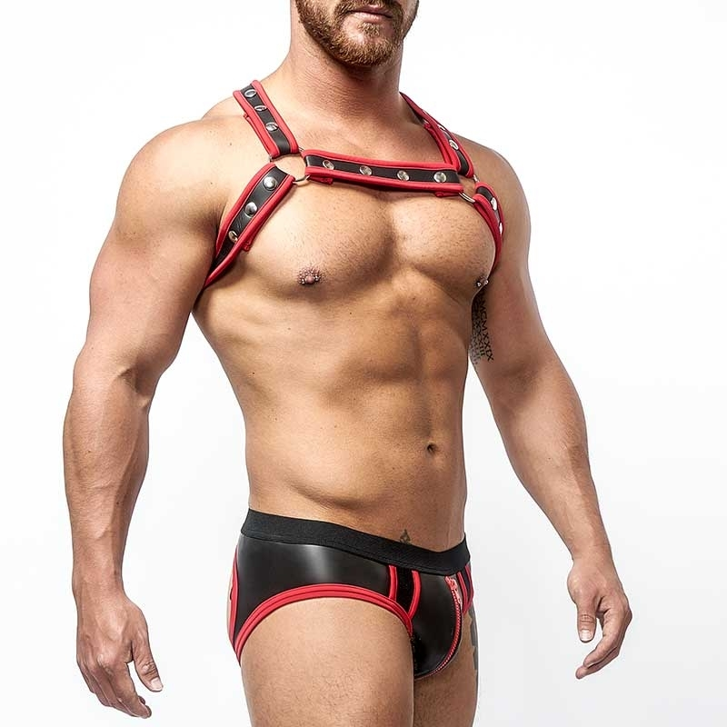 MISTER B NEOPRENE backless BRIEF 340130 with color contrast piping