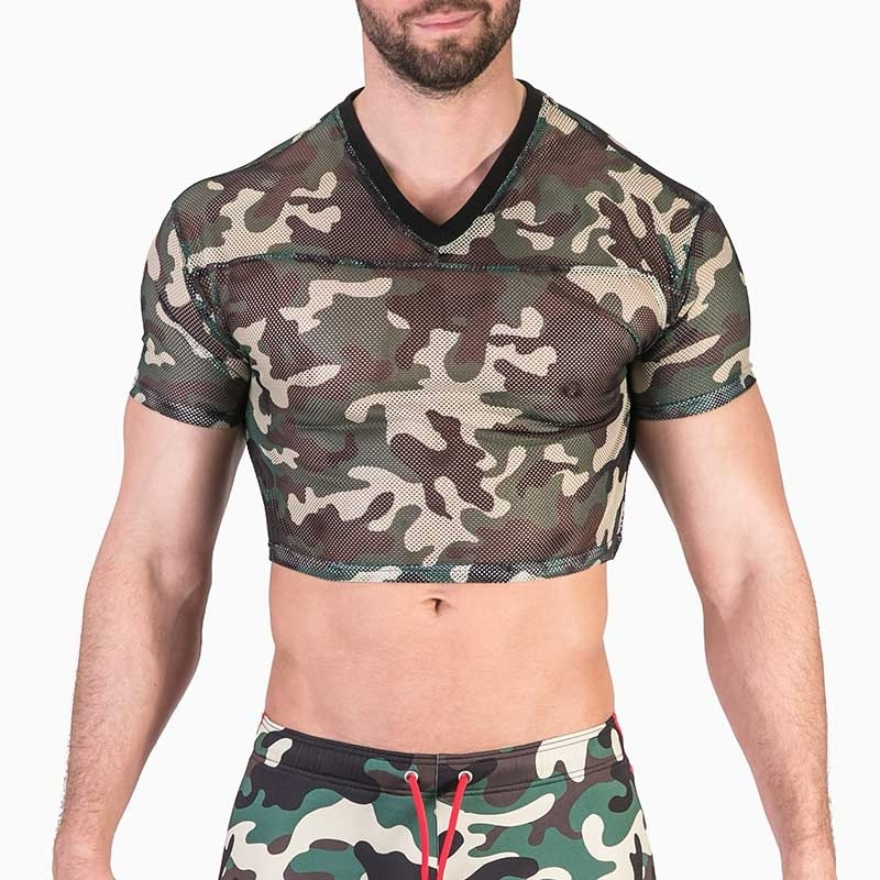 BARCODE Berlin T-SHIRT army mesh 91487 half top in camouflage green