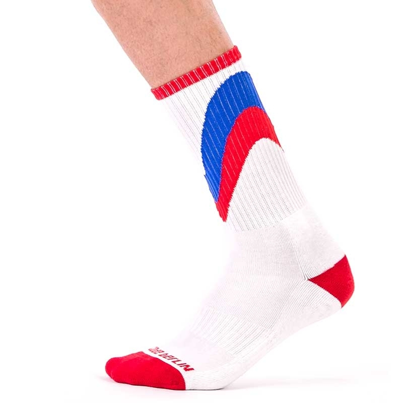 BARCODE Berlin STOCKING gym initial in red 91448 sport socks white