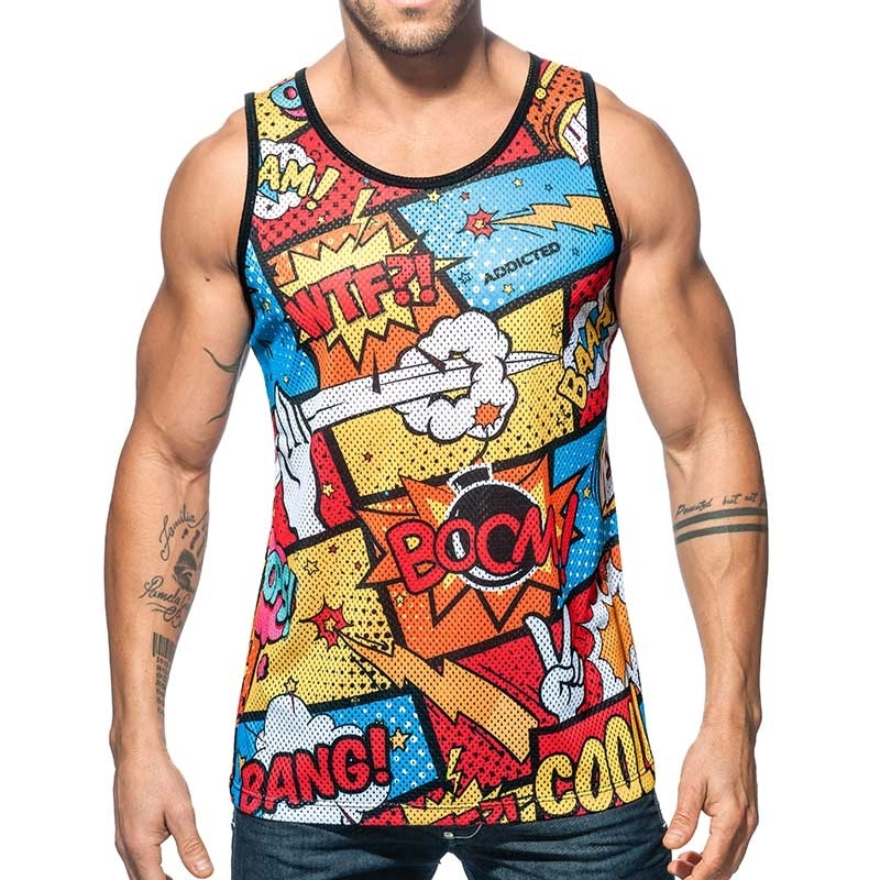 ADDICTED TANK TOP boom bang AD602 Netz mit comic fight Druck