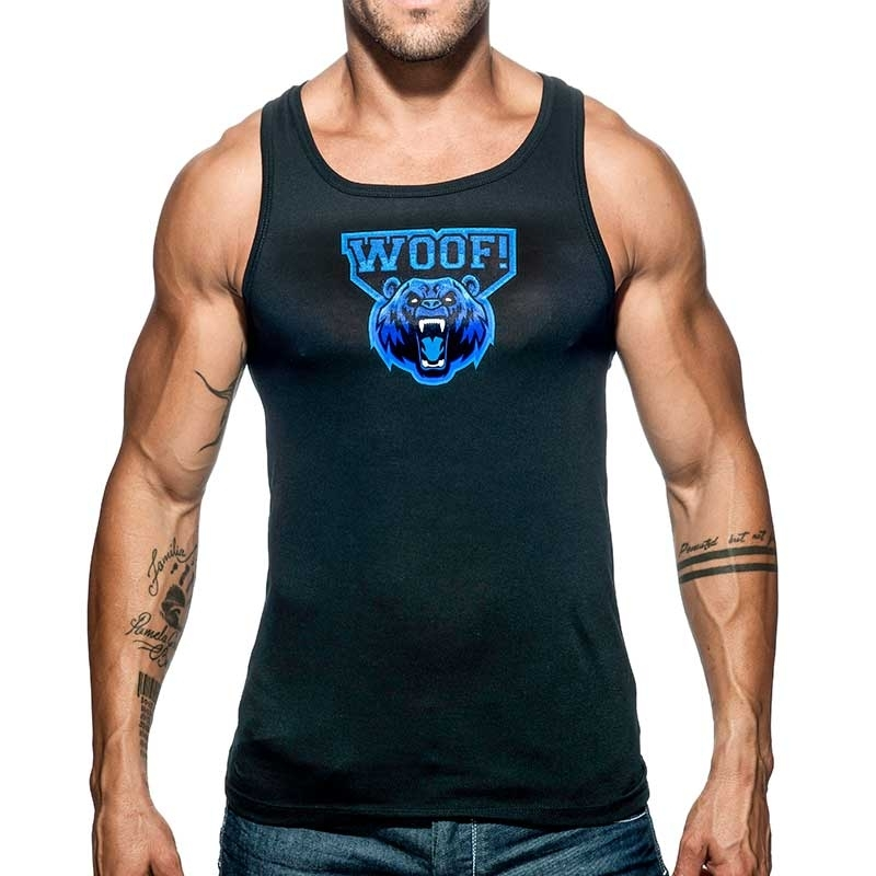 ADDICTED TANK TOP woof AD603 the beast is black