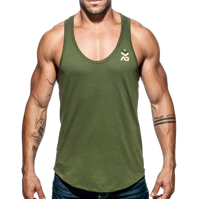 ADDICTED TANK TOP military AD611 base for everyone in oliv green