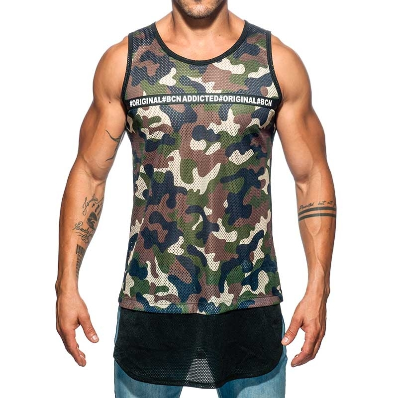 ADDICTED TANK TOP army AD634 langer Torso camo Netz in oliv