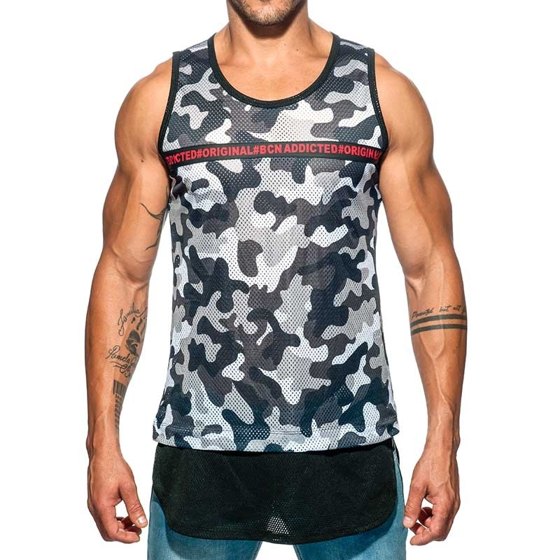 ADDICTED TANK TOP army AD634 langer Torso camo Netz in grey