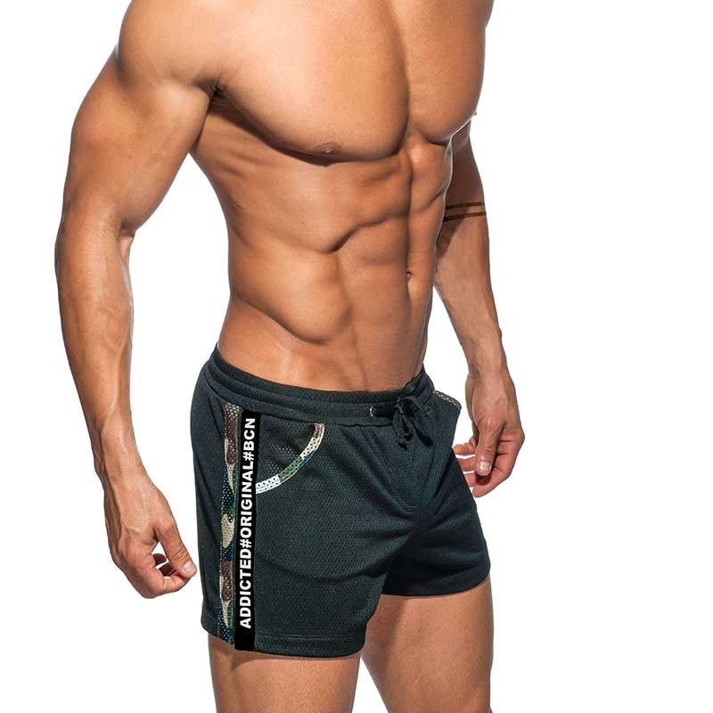ADDICTED SHORTS army AD635 black mesh with olive camo piping