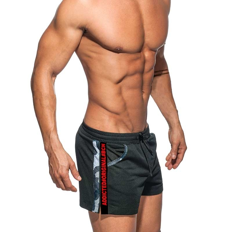 ADDICTED SHORTS army AD635 black mesh with grey camo piping