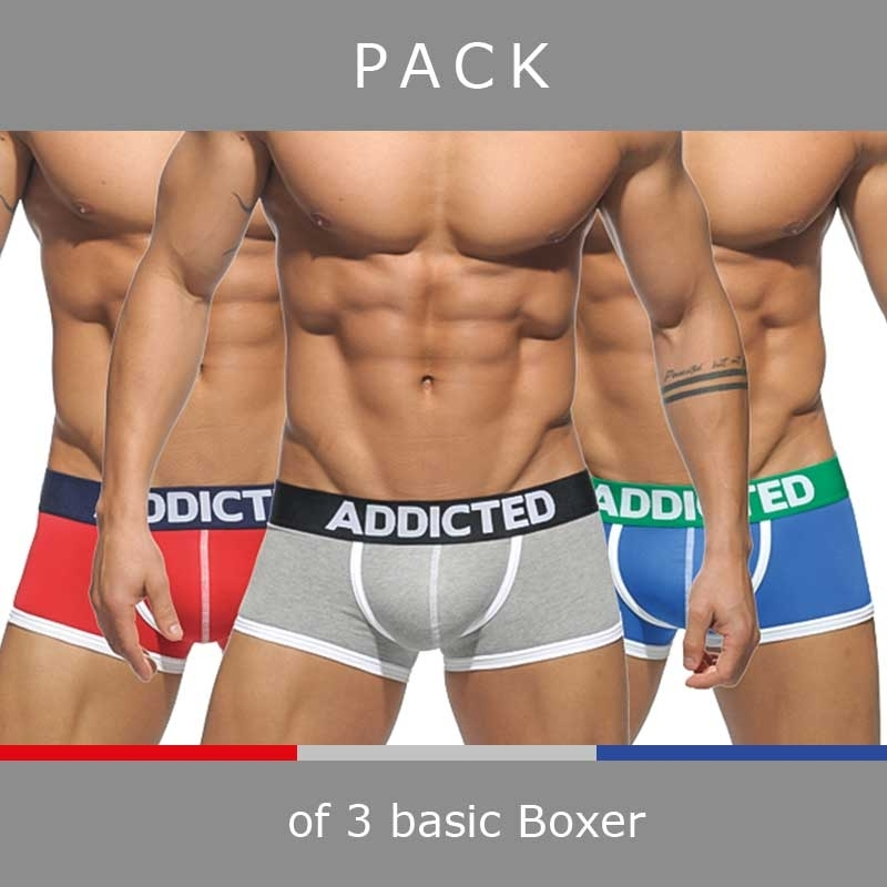ADDICTED PANTS basic AD302P in a 3-value pack boxer