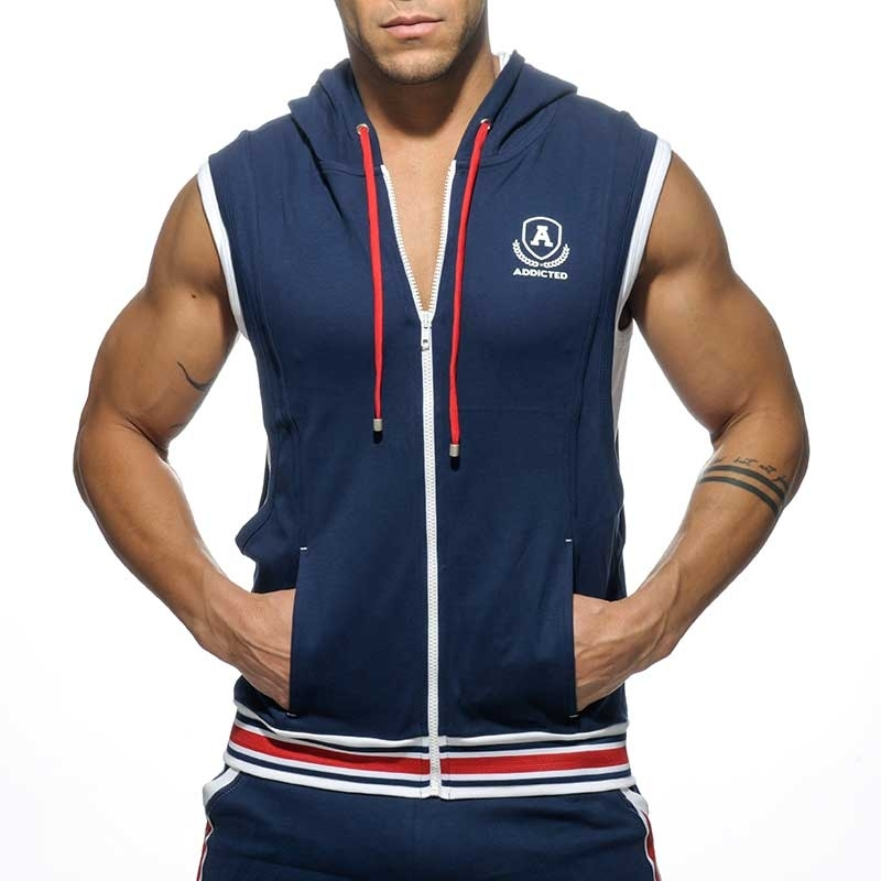 ADDICTED HOODIE TANK zip AD334 sport Premium navy Design