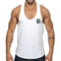 ADDICTED TANK TOP contrast AD493 fit line string Steg in white