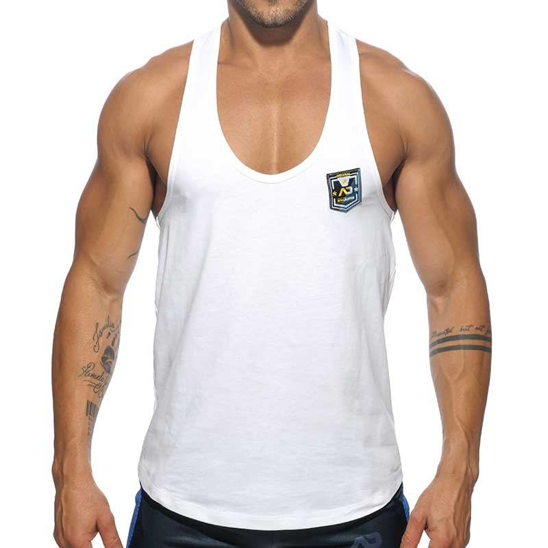 ADDICTED TANK TOP contrast AD493 fit line string bridge in white
