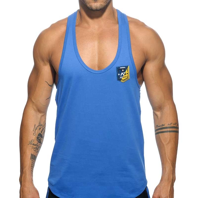 ADDICTED TANK TOP contrast AD493 fit line string bridge in blue