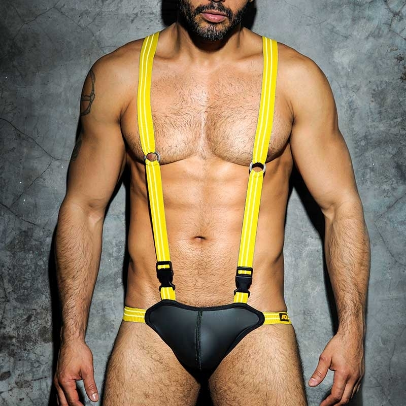 AD-FETISH neoprene like BODY Jock wet ADF25 backless yellow straps