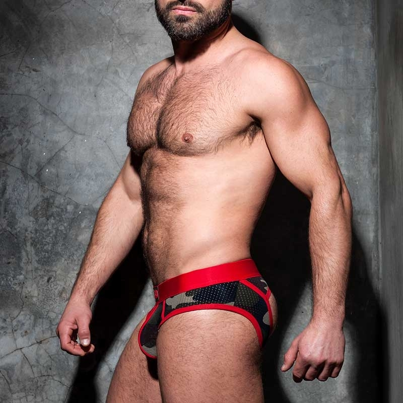 ADDICTED BRIEF stripe fetish ADF62 red backless camo mesh