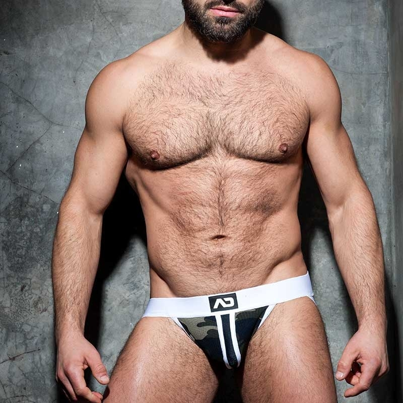 ADDICTED JOCK stripe fetisch ADF64 white backless camo mesh