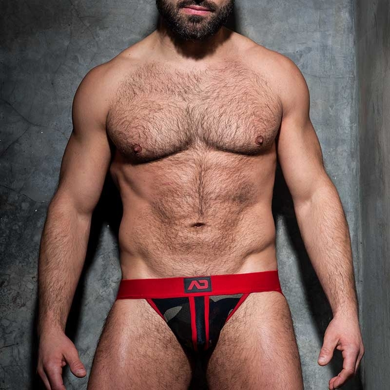 ADDICTED JOCK stripe fetisch ADF64 red backless camo mesh