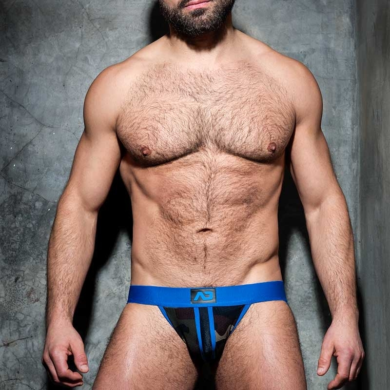 AD-FETISH JOCK stripe fetish ADF64 blue backless camouflage mesh