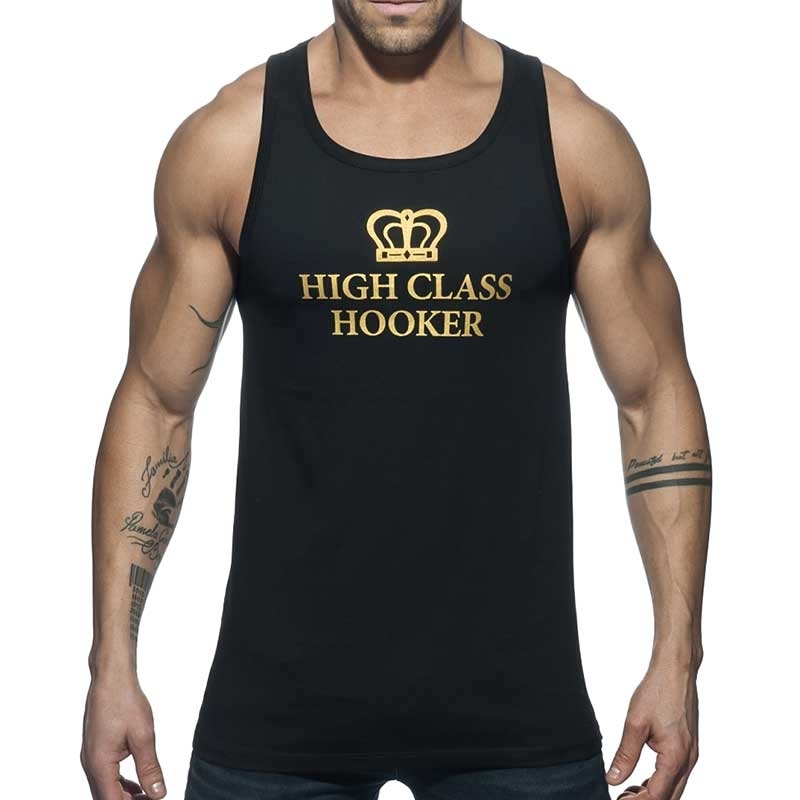 ADDICTED TANK TOP high class AD646 gold Hooker in black