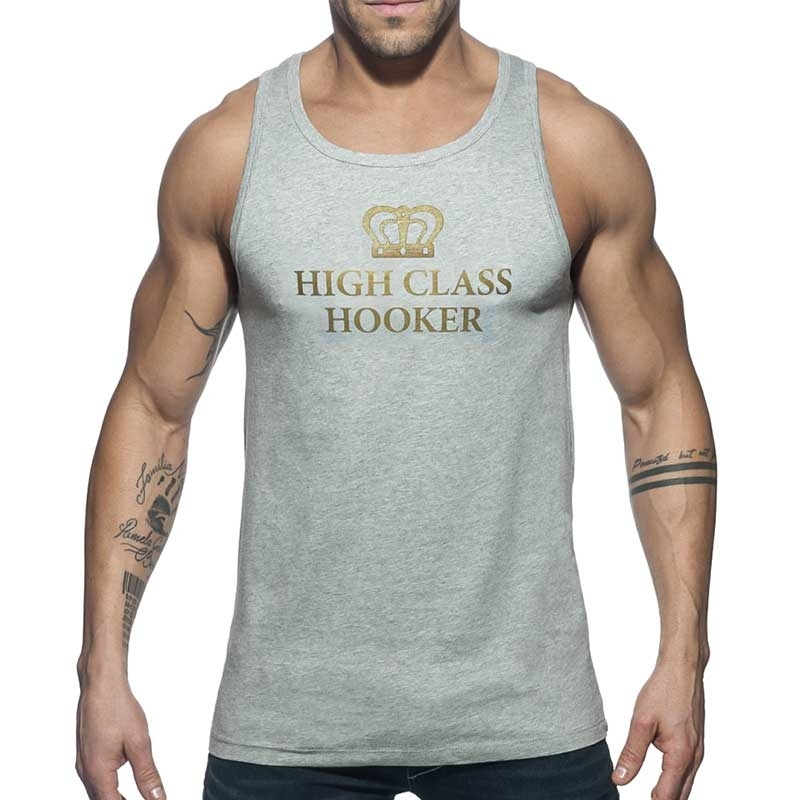 ADDICTED TANK TOP high class AD646 gold Hooker in grey
