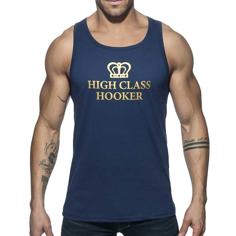 ADDICTED TANK TOP high class AD658 gold Hooker in navy