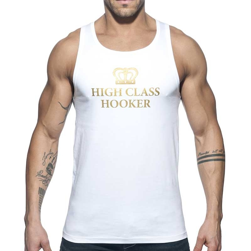 ADDICTED TANK TOP high class AD646 gold Hooker in white