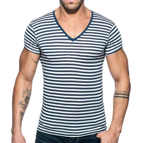 ADDICTED T-SHIRT sailor AD587 gestreift im Marine blue Look